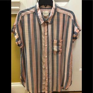 AE multi stripe button down shirt